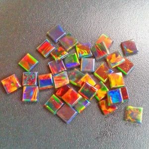 Profound Black 3mm Square Coin opals by Elements Glass