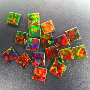 Profound Black 6mm Square Coin opals by Elements Glass