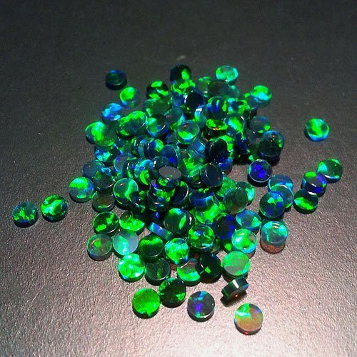 Profound Green 3mm Round Coin opals by Elements Glass