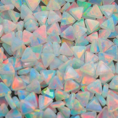 Profound White 3mm Triangle Coin opals by Elements Glass
